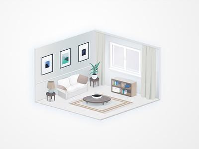 Livingroom visux angelika mata at home vector illustration isometric isometry interior livingroom