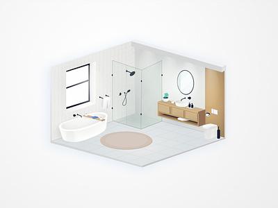 bathroom visux design angelika mata at home vector illustration isometric isometry bathroom interior