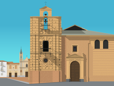 Santa Maria la Mayor, Andújar espana design gradient flat illustration vector andújar santa maria church spain