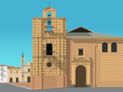 Santa Maria la Mayor, Andúar espana design gradient flat illustration vector andújar santa maria church spain