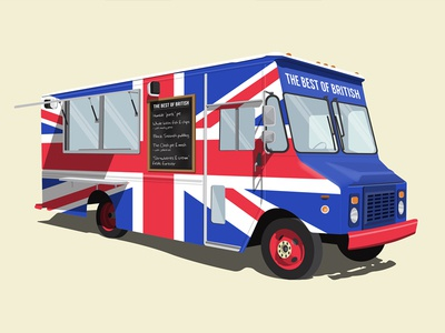 The Best of British Food Truck the clash the beatles led zeppelin black sabbath rock n roll food truck best of british britpop food music illustration british