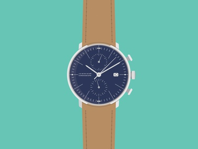 Chronoscope max bill wrist watch illustration vector flat timepiece watch chronoscope chronograph junghans