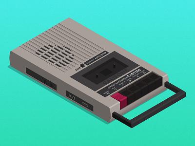 Califone cassette recorder isometric tape player vintage retro califone vector cassette tape