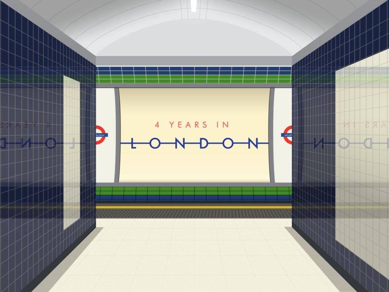 4 Year London anniversary typography illustration london underground animation 4 years piccadilly line underground tfl tube flat vector anniversary london