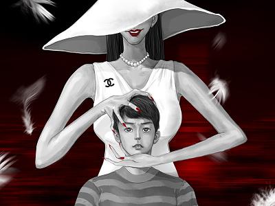 八尺大人 girl cartoon night design painting illustration dribbble
