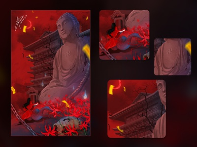 HELL china chinese ui red design painting cartoon illustration dribbble