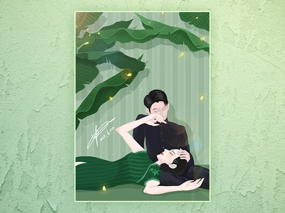心静自然凉 branding chinese night girl china design painting cartoon illustration dribbble