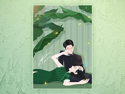 心静自然凉 branding chinese night girl china design painting cartoon illustration dribbble