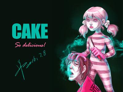 cake illustration painting delicious pink crime green cake killer girl baby