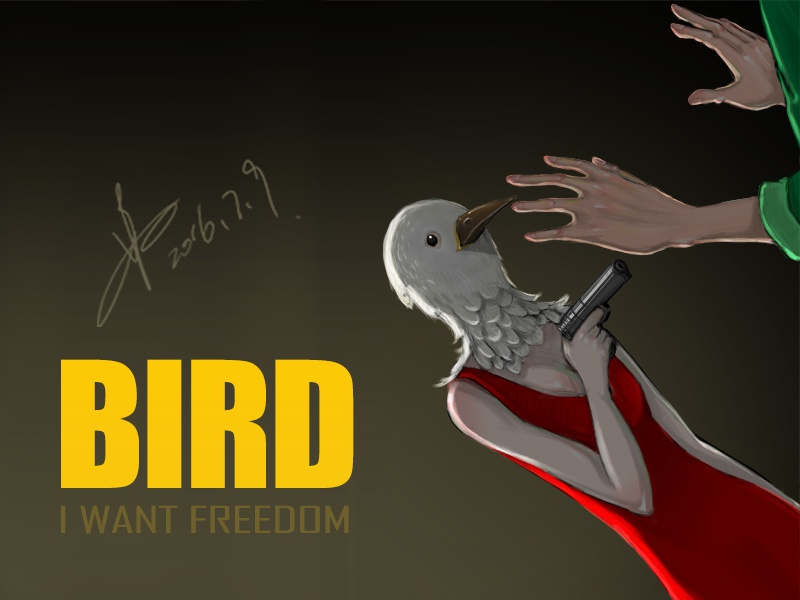 Bird dribbble illustration painting hand green red gun yellow bird killer