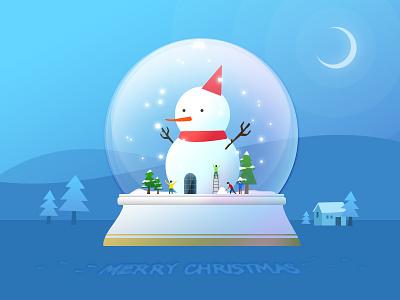 Merry Christmas~ blue night tree snow snowman christmas