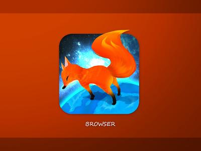 Browser design star sky earth orange fox browser
