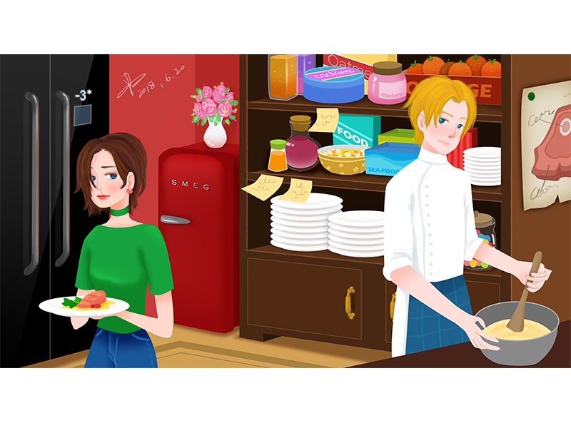 kitchen love girl boy delicious food dribbble kitchen