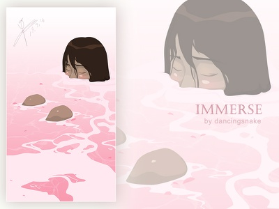 immerse design girl dribbble cartoon painting illustration