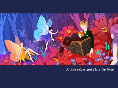 A little prince broke into the forest cartoon design painting dribbble illustration