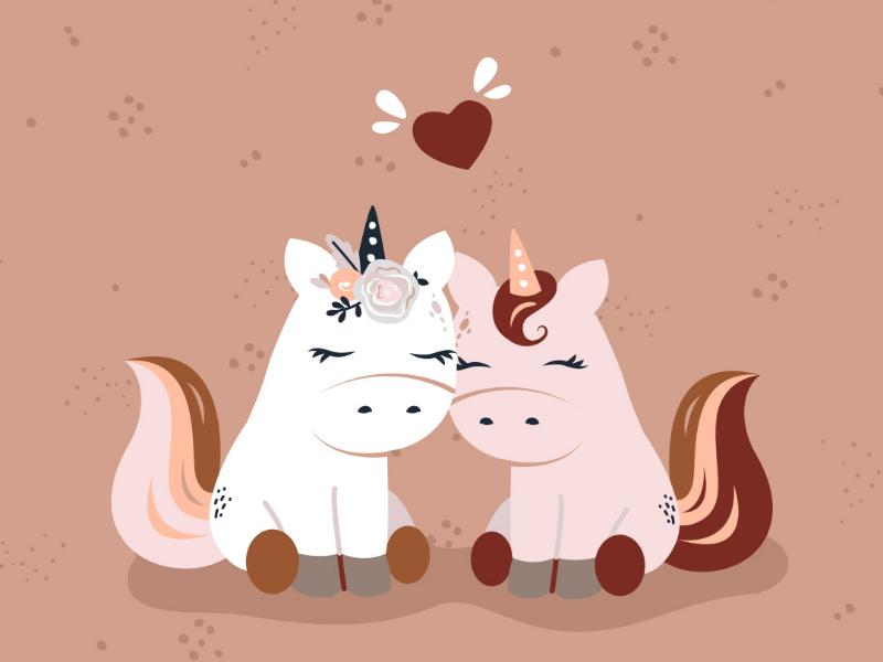 Unicorns in love bohemian boho characters happy nursery kids vector valentines day love unicorns minimalist illustration cute
