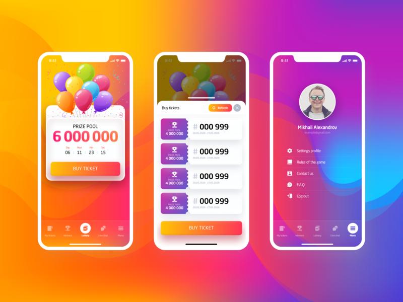 Lottery App icon lottery ios application ui vector ux illustration flat ui ux ui design art