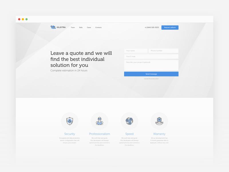 Landing page Kilistra application ui web desgin back end developer ux ui design landing page design