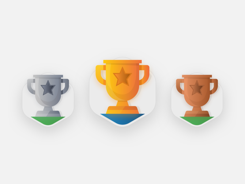 Icon cups stars colors champions winners first 3rd 2nd 1st flat vector illustration art icon cups cup