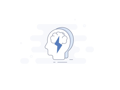 Idea Generator Icon user icon user profile smart brainstorm stylization people lightning blue icon illustration generate brain idea