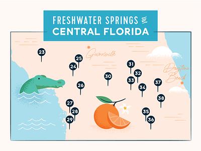 Freshwater Springs Map everglades freshwater feminine texture ocean orange alligator map travel springs florida
