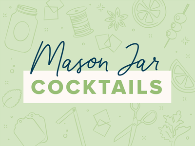 Mason Jar Cocktail olive scissors sketch illustration type vintage lime cocktail jar mason