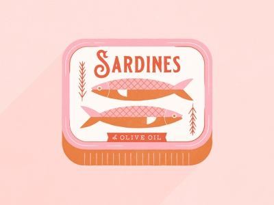 Vectober 1 // Fish inktober vectober pink tuna fish sardine mid century feminine texture vintage illustration