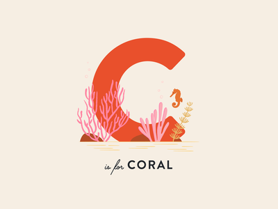 Vectober 20 // Coral corals coral reef seahorse letter abc coral floral vectober inktober mid century feminine texture vintage illustration