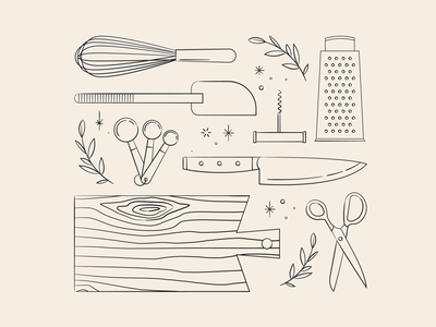 Vectober 22 // Chef tools kitchen utensil chef sketch vectober inktober mid century feminine texture vintage illustration