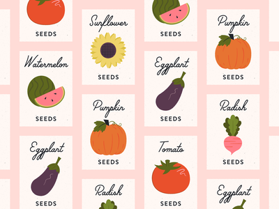 Vectober 24 // Dig sunflower tomato radish pumpkin vegetables packaging seeds sketch vectober mid century inktober feminine texture vintage illustration