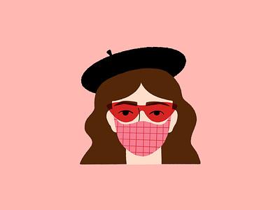 Vectober 25 // Hide procreate art wear a mask covid mask beret woman pink procreate sketch vectober inktober feminine texture vintage illustration