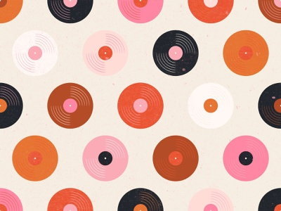 Vectober 27 // Music pattern design serface pattern instrument music record vectober inktober feminine texture vintage illustration