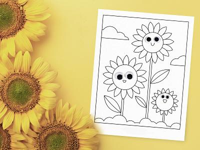 Sunflower Coloring Pages floral flowers activity outline kid pages coloring feminine vintage illustration