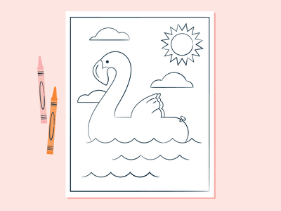 Pool Float Coloring Page outline float ocean children kids summer pool floaty flamingo crayons page activity linework line sketch mid century vintage illustration