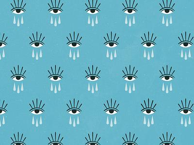 Flow Pattern cry eye evil feminine texture vintage illustration