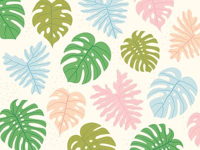 Island Pattern pattern leaf island plant monstera feminine texture illustration
