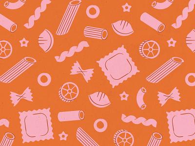 Pasta Pattern food joy pattern macaroni pasta feminine texture illustration