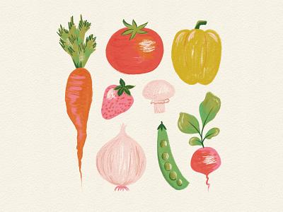 Vectober 13 - Garden tomato onion carrot garden vegetable painterly paint sketch procreate vectober inktober mid century feminine texture vintage illustration