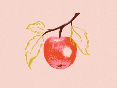 Vectober 15 - Apple vegetable fruit fall inktober apple feminine texture vintage illustration