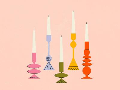 Vectober 18 - Candle victorian candle vectober inktober mid century feminine texture vintage illustration