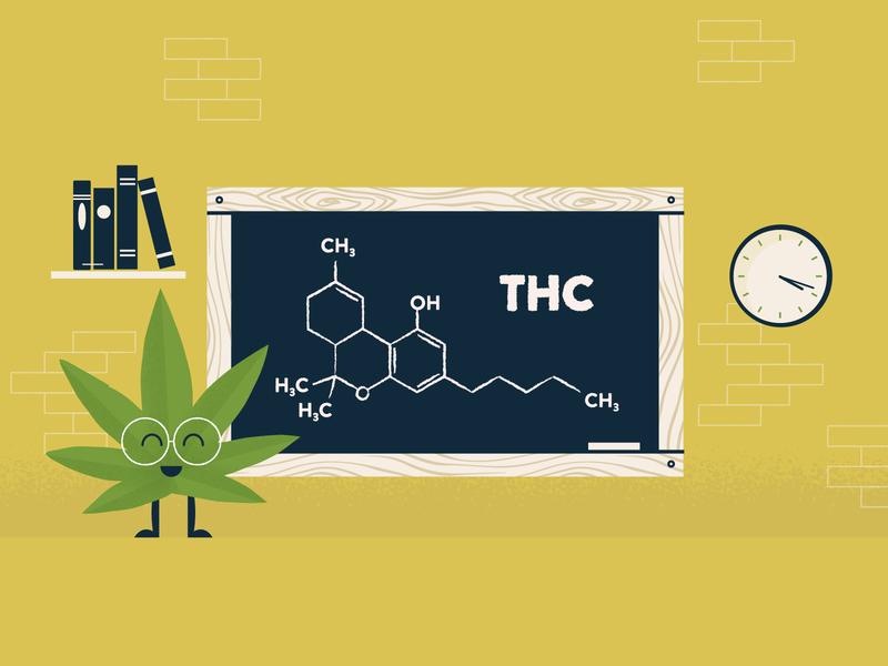 THC Molecule character vintage chemistry class science texture illustration molecule marijuana cannabis thc