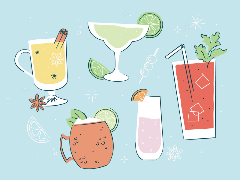 Cocktail Illustrations happy hour alcohol cider bloody mary retro line moscow margarita recipes cocktail illustration
