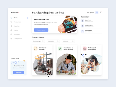 Online learning platform, Ecourse minimal card interactions dashboard user interface scrolling slide course online principle after effect sketch concept ux ui animation desktop