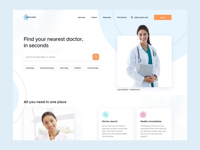 Healthcare - Search Doctor dashboard transitions doctor user interface slide blue website after effects interaction map search medic healthcare design sketch minimal animation concept ux ui