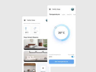 Smart home app controller smarthome home smart controller temperature smooth principle rooms mp4 aftereffects sketch ios minimal iphone x mobile animation app concept ux ui