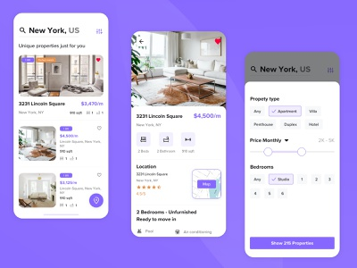 Real State Finder App property flat home rental filters listing interaction design sketch iphone x mobile concept ux ui ios app real state
