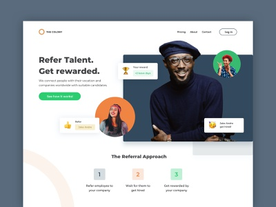 Employee Referral Program Website hero image homepage browser community hiring company work employee reward referral website design sketch concept ux ui