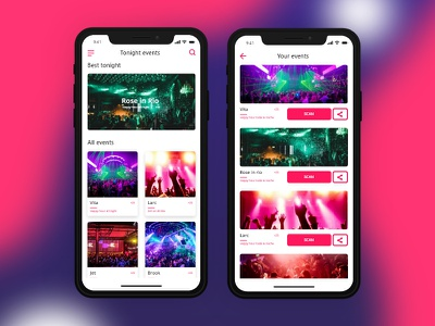 Night Club App iphone x sketch xd iphone interface mobile night design app ui ux