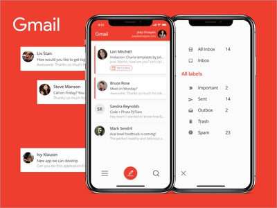 Gmail Redesign Concept redesign mobile gmail ui ux ios iphone x concept app