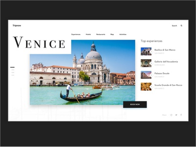 Travel Landing page booking experiences italy ui minimal venice web travel